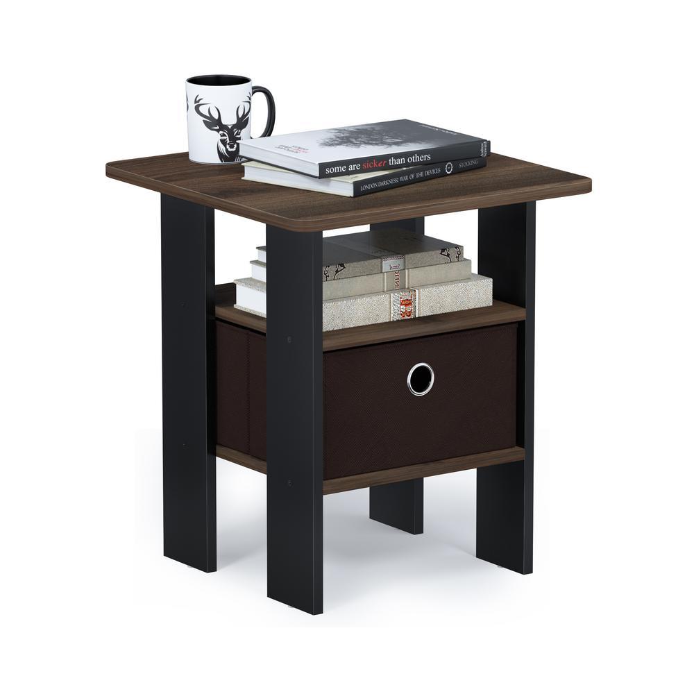 Multipurpose Columbia Walnut Bin Drawer End Table
