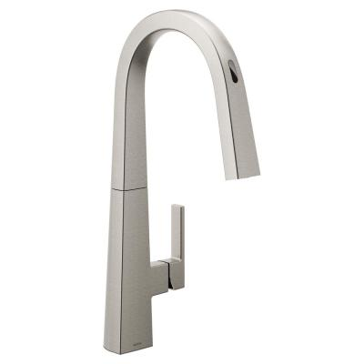 U by Moen Nio Single-Handle Pull-Down Sprayer Smart Kitchen Faucet with Voice Control in Spot Resist Stainless
