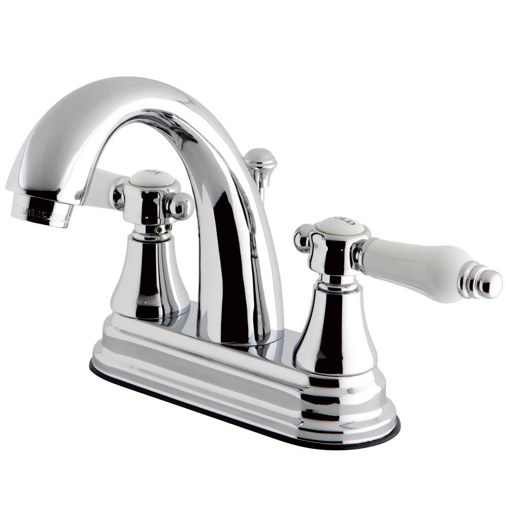 Kingston Brass English Porcelain 4 In Centerset 2 Handle High Arc Bathroom Faucet In Chrome