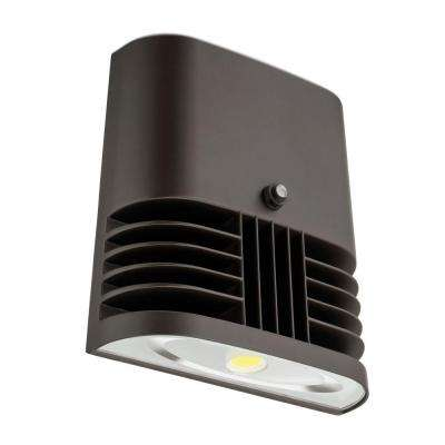 Dark Bronze 13-Watt 130 Volt Outdoor Dusk to Dawn Low-Profile LED Wall Pack with Photocell