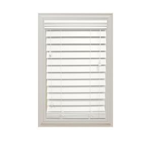 Home decorators collection white 2 1 2 in premium faux wood blind 30 in w x 64 in l actual - Home decorators faux wood blinds gallery ...