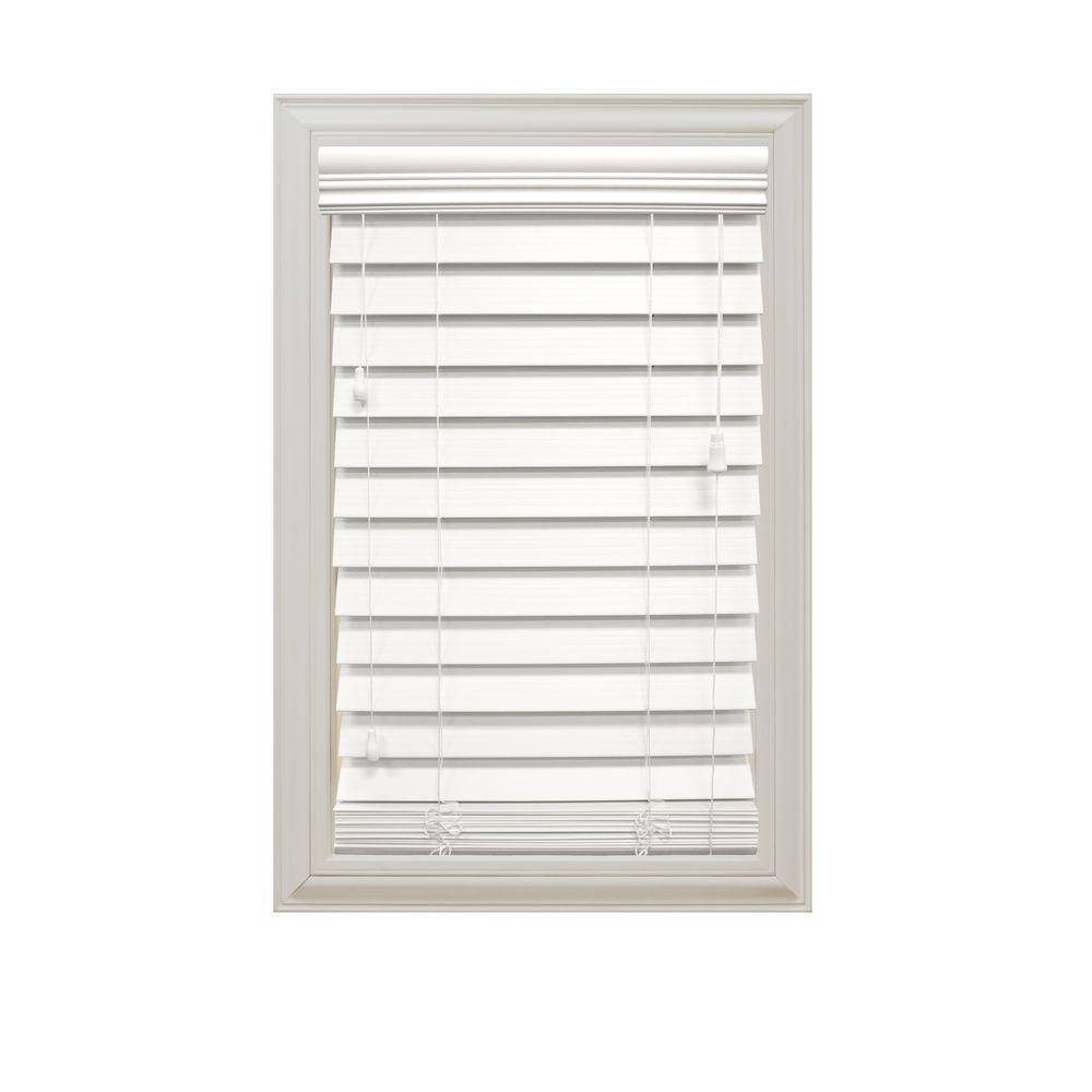 Home Decorators Collection White 2-1/2 in. Premium Faux Wood Blind - 56 in. W x 64 in. L (Actual Size 55.5 in. W x 64 in. L )