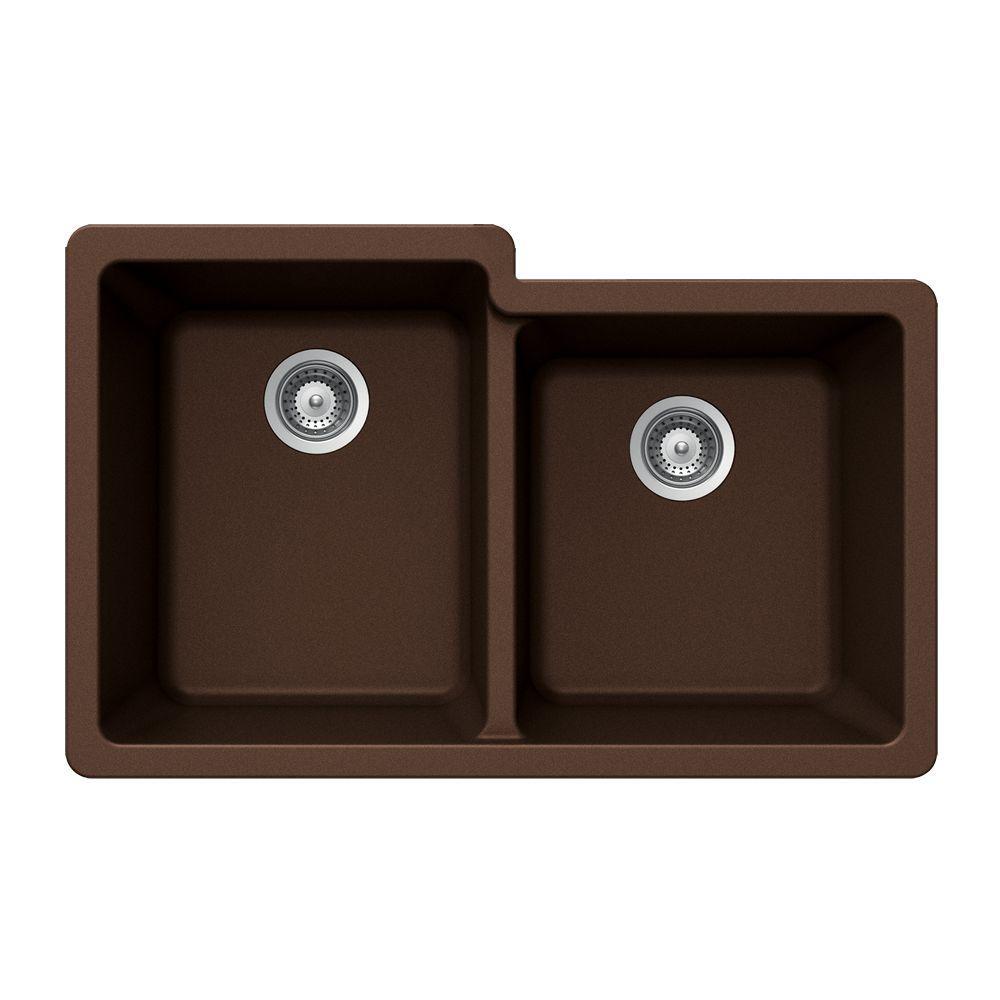 Quartztone Undermount Composite Granite 33 in. Double Bowl Kitchen Sink in Earth