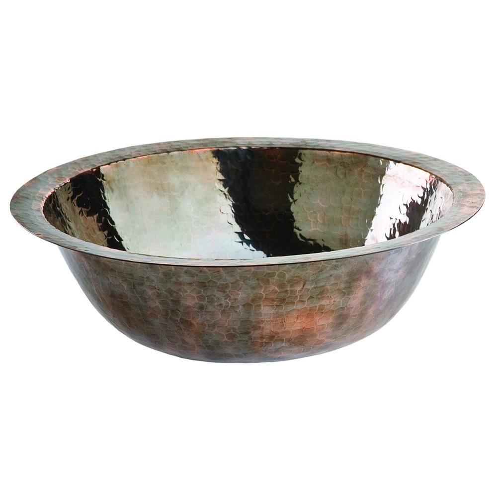 SINKOLOGY Under-Mount Solid Copper Bathroom Sink in Dark Nickel Finish