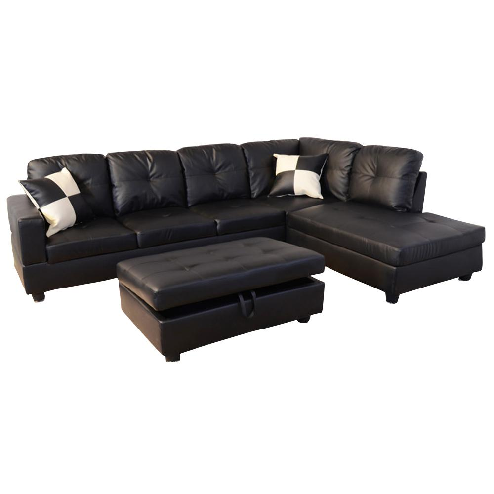 Black Right Chaise Sectional with Storage Ottoman