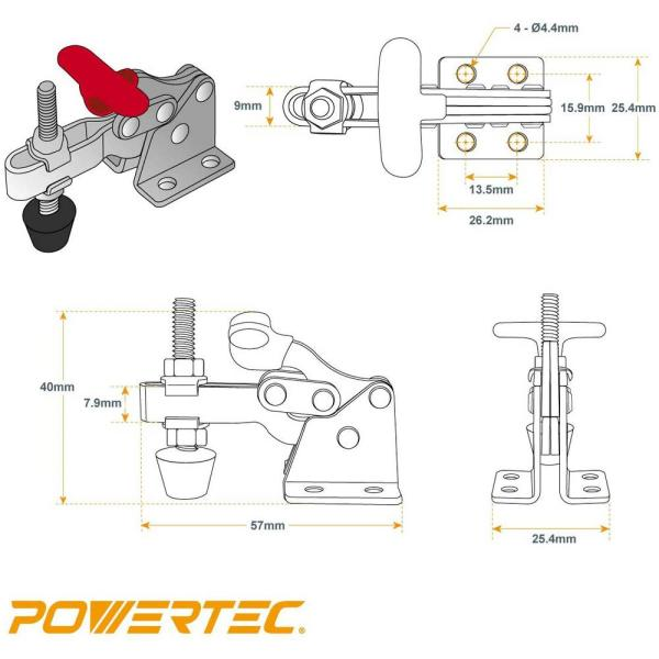 20320 POWERTEC 150 lbs Capacity 13005 Vertical Quick-Release Toggle Clamp