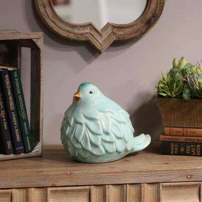 8.75 in. H Bird Decorative Figurine in Blue Gloss Finish