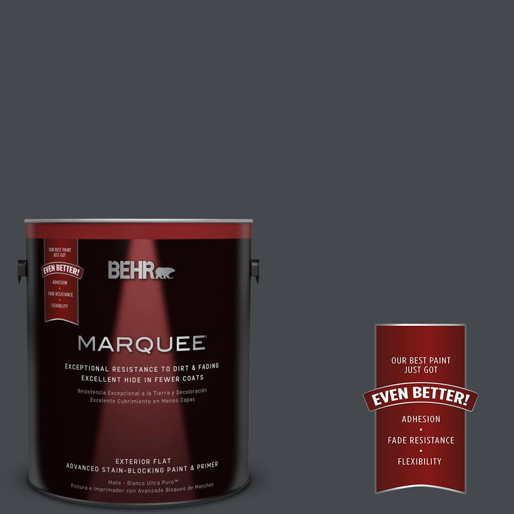 BEHR MARQUEE 1-gal. #N490-7 Ink Black Flat Exterior Paint
