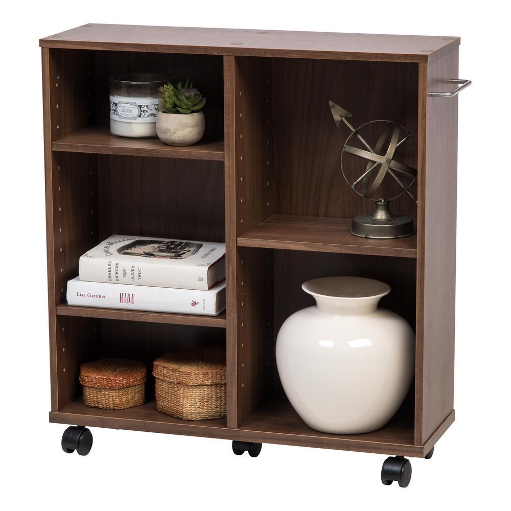 Stupendous Iris Dark Brown Wooden Rolling Shelf 596721 The Home Depot Machost Co Dining Chair Design Ideas Machostcouk