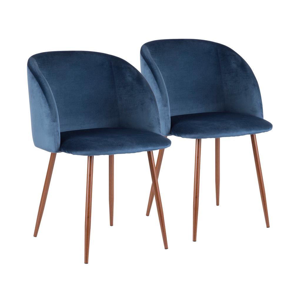 Lumisource fran blue velvet dining chair set of 2