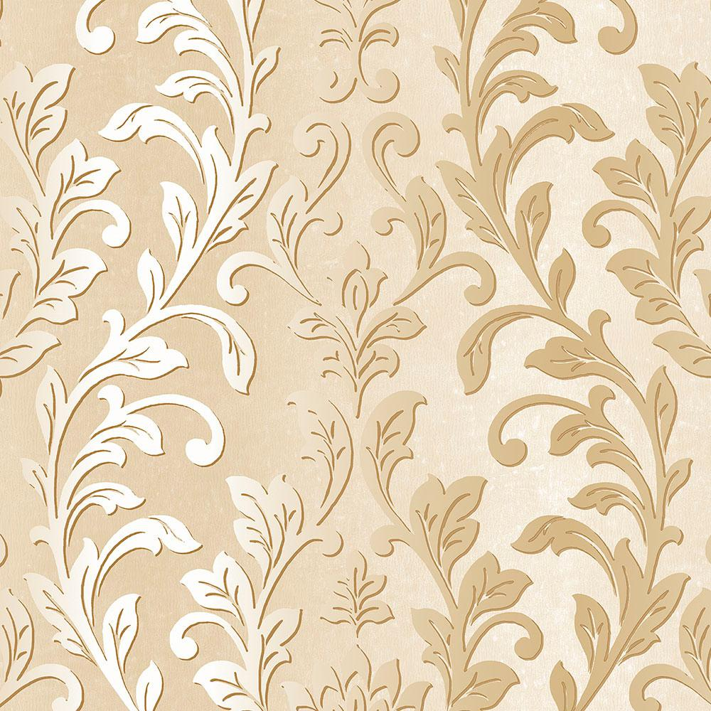 Silver Leaf Damask Wallpaper