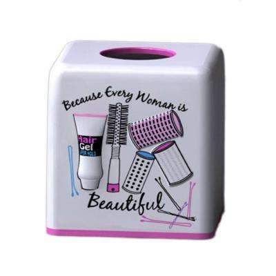 Hair Salon Collection 6 in. Tissue Box Holder in White with Pink and Black Details