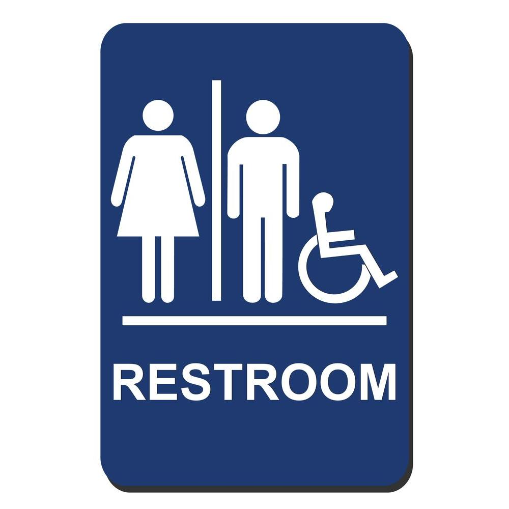 Lynch Sign 6 in. x 9 in. Blue Plastic Restroom Braille Accessible Sign