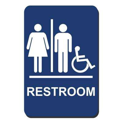 6 in. x 9 in. Blue Plastic Restroom Braille Accessible Sign