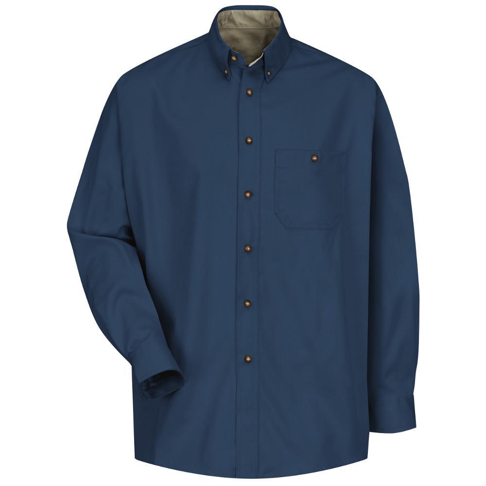Men's Size 2XL x 36/37 Navy/Stone Cotton Contrast Dress Shirt