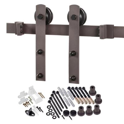78.75 in. Bronze Straight Strap Barn Door Hardware