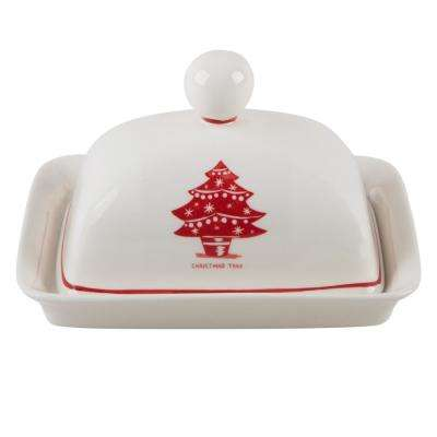 Molly Hatch 6.75 in. L Christmas Tree Butter Dish