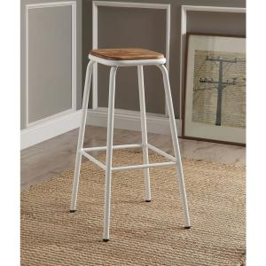 Scarus 30 in. Natural and White Bar Stool