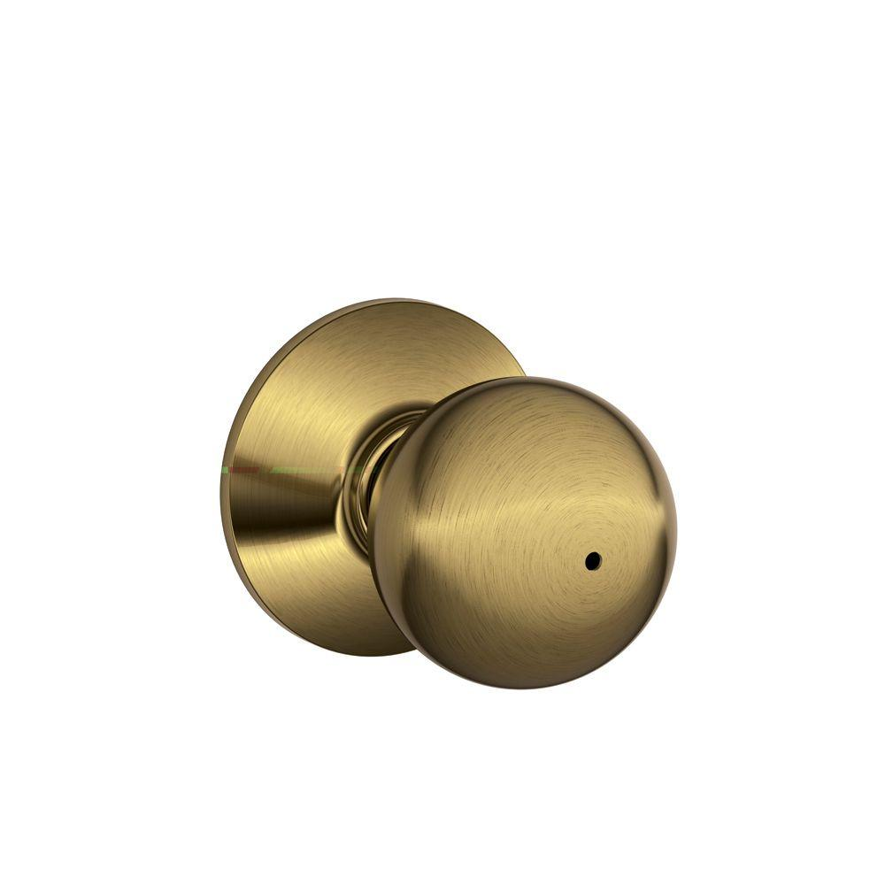 Superbe Schlage Orbit Antique Brass Privacy Bed/Bath Door Knob