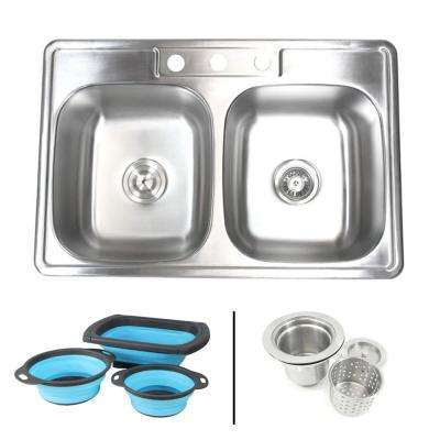 Topmount Drop-In 18G Stainless Steel 33-1/8 in. 3 Hole 50/50 Double Bowl Kitchen Sink w/ Collapsible Silicone Colanders