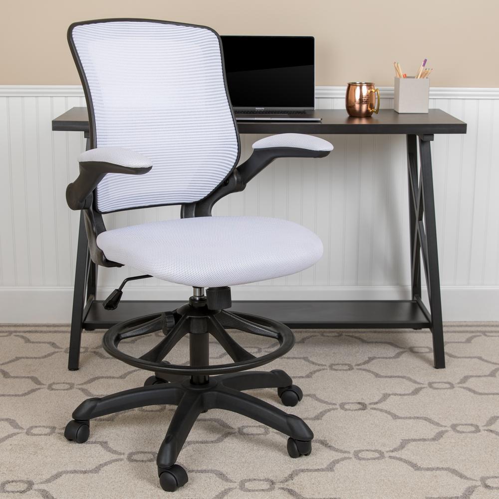 White Mesh Drafting Chair