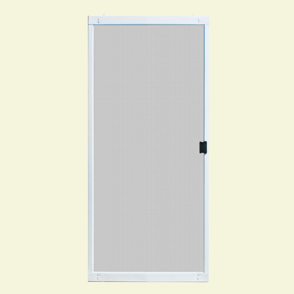 Unique home designs 36 in x 80 in standard white metal for Sliding storm doors home depot