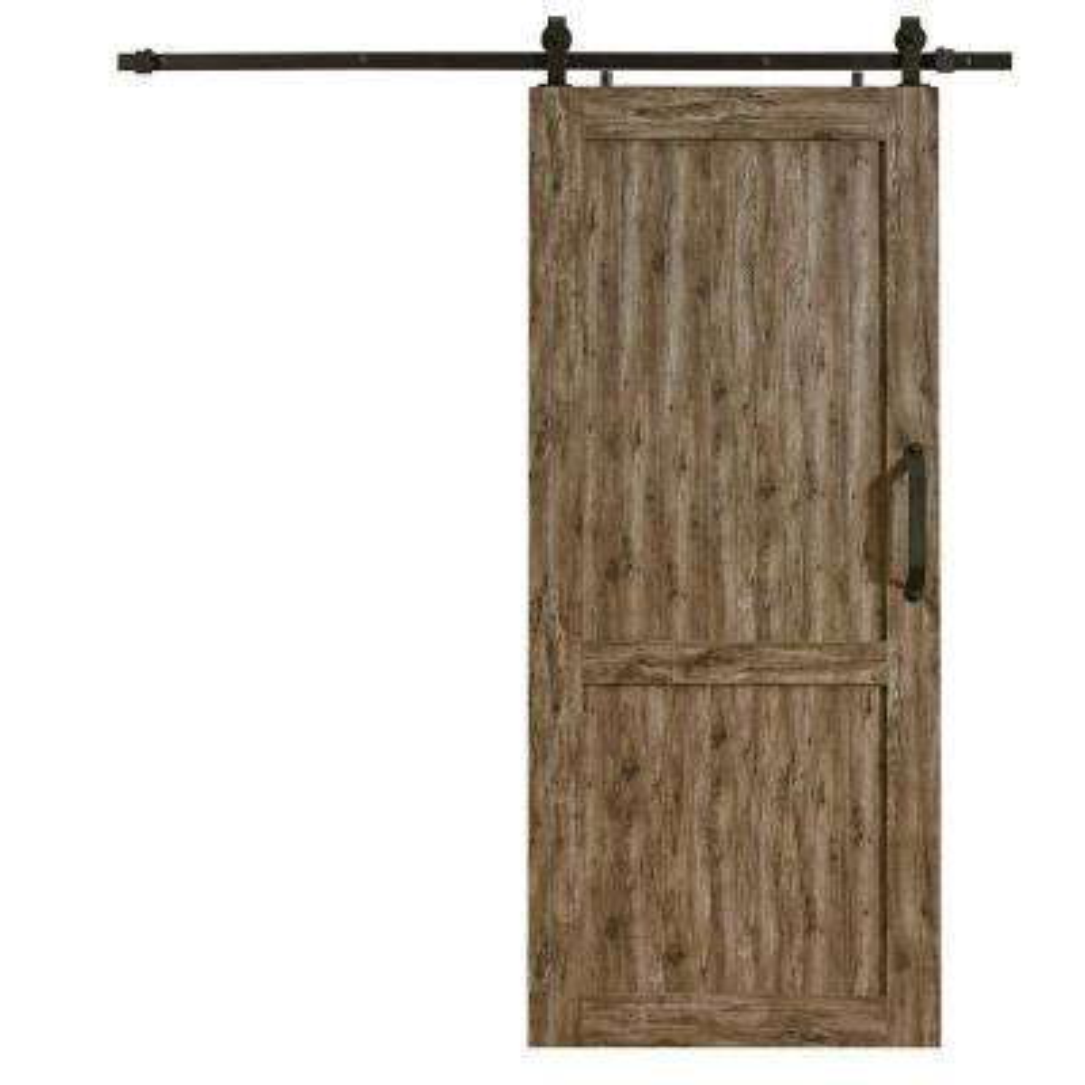 Millbrooke White PVC Vinyl H Style Barn Door with Sliding Door Hardware Kit.