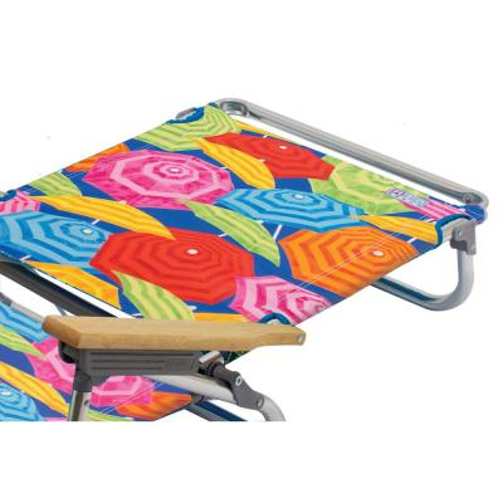 5-Position Aluminum Lay Flat Designer Beach Chair with Towel Bar