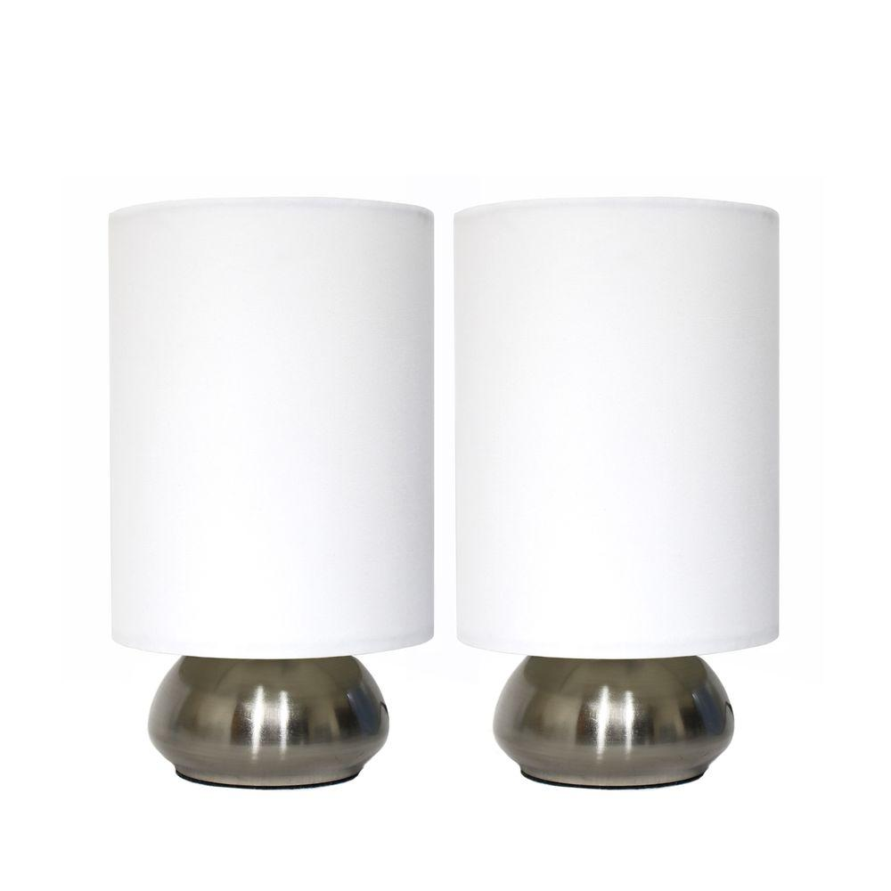 Simple Designs Gemini 9 in. Brushed Steel Base and Ivory White Two (2) Pack Mini Touch Lamp with Fabric Shades