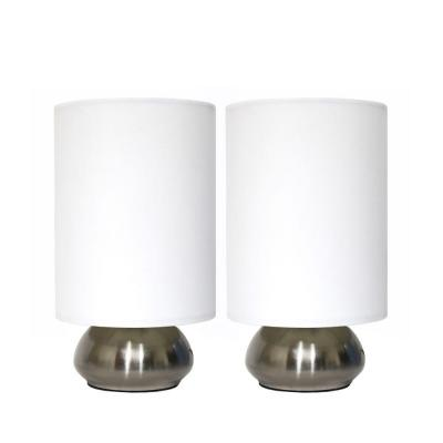 9 in. Brushed Steel Base and Ivory White Two (2) Pack Mini Touch Lamp with Fabric Shades