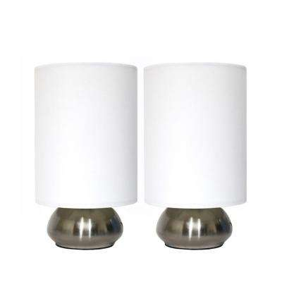 Gemini 9 in. Brushed Steel Base and Ivory White Two (2) Pack Mini Touch Lamp with Fabric Shades