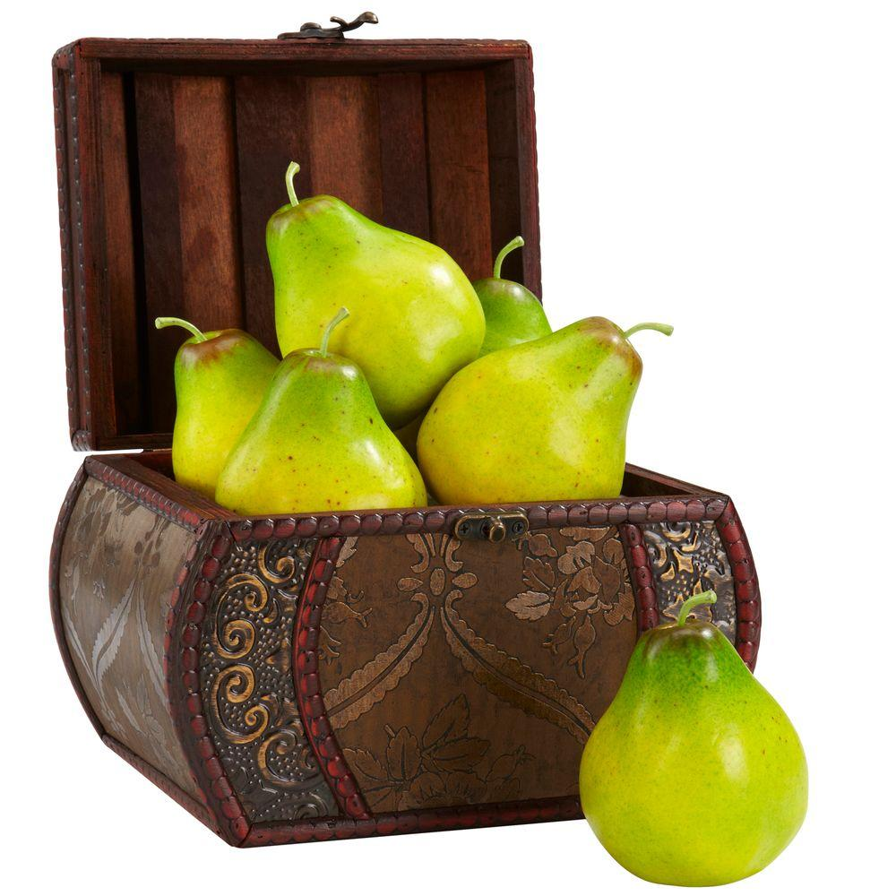 Nearly Natural 3.75 in. H Green Faux Pear (Set of 6)