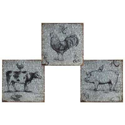 "12.00 in. x 13.00 in. ""Pig, Rooster And Cow"" Printed Wall Art"