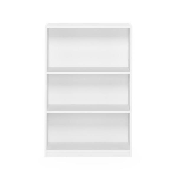Furinno - 40.3 in. White Wood 3-shelf Standard Bookcase with Adjustable Shelves