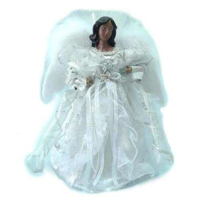 12 in. Ethnic LED Lit Angel Silver Topper