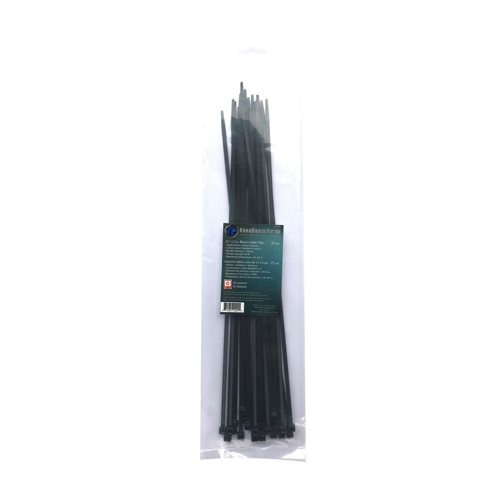 unbranded 15-1/2 in. Black UV Cable Tie (25-Pack)