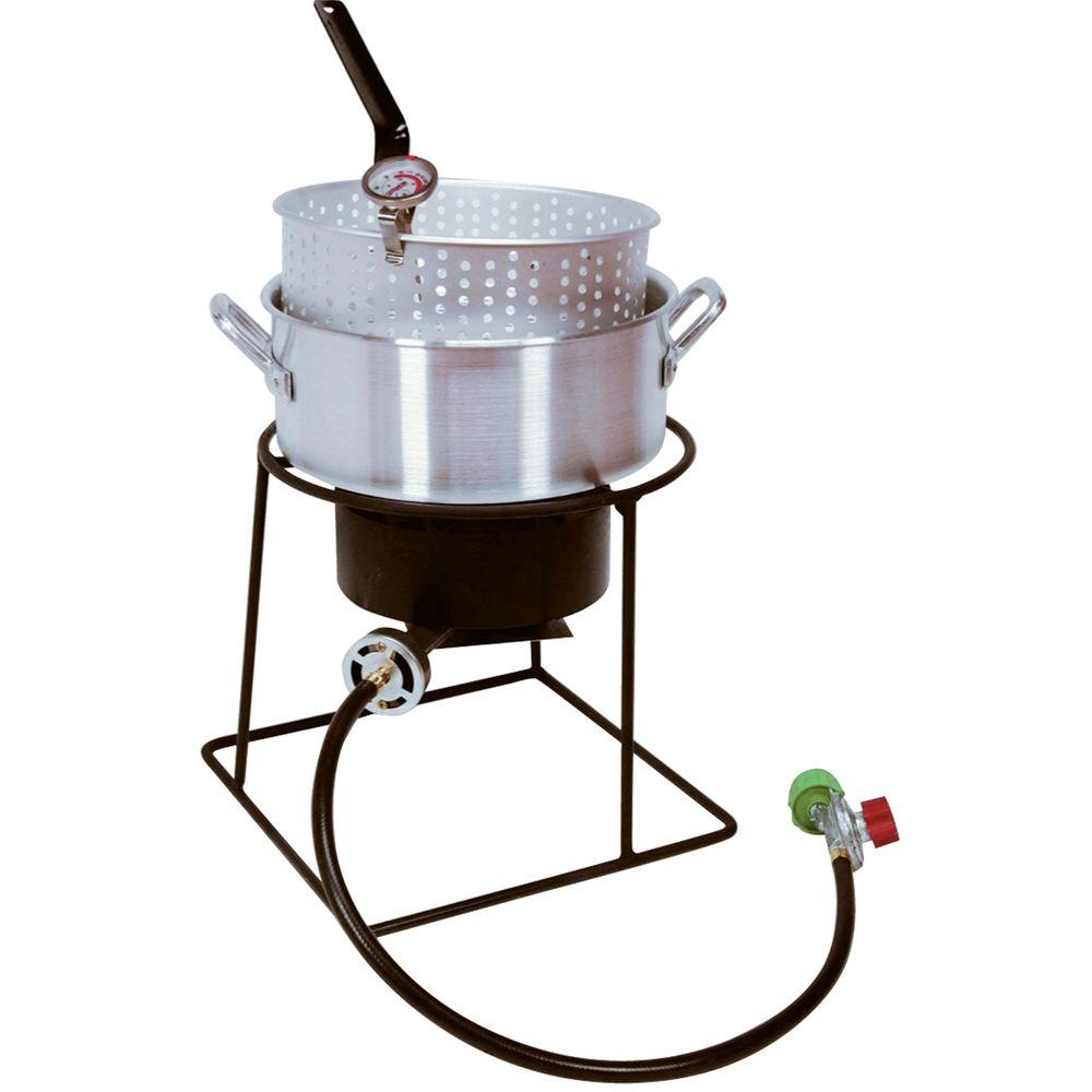 King Kooker 54,000 BTU Welded Portable Propane Gas Outdoor Cooker with Aluminum Fry Pan