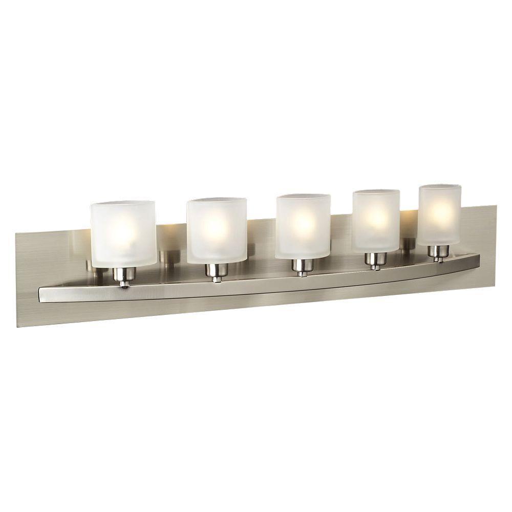 Contemporary Beauty 5-Light Satin Nickel Halogen Bath Vanity Light