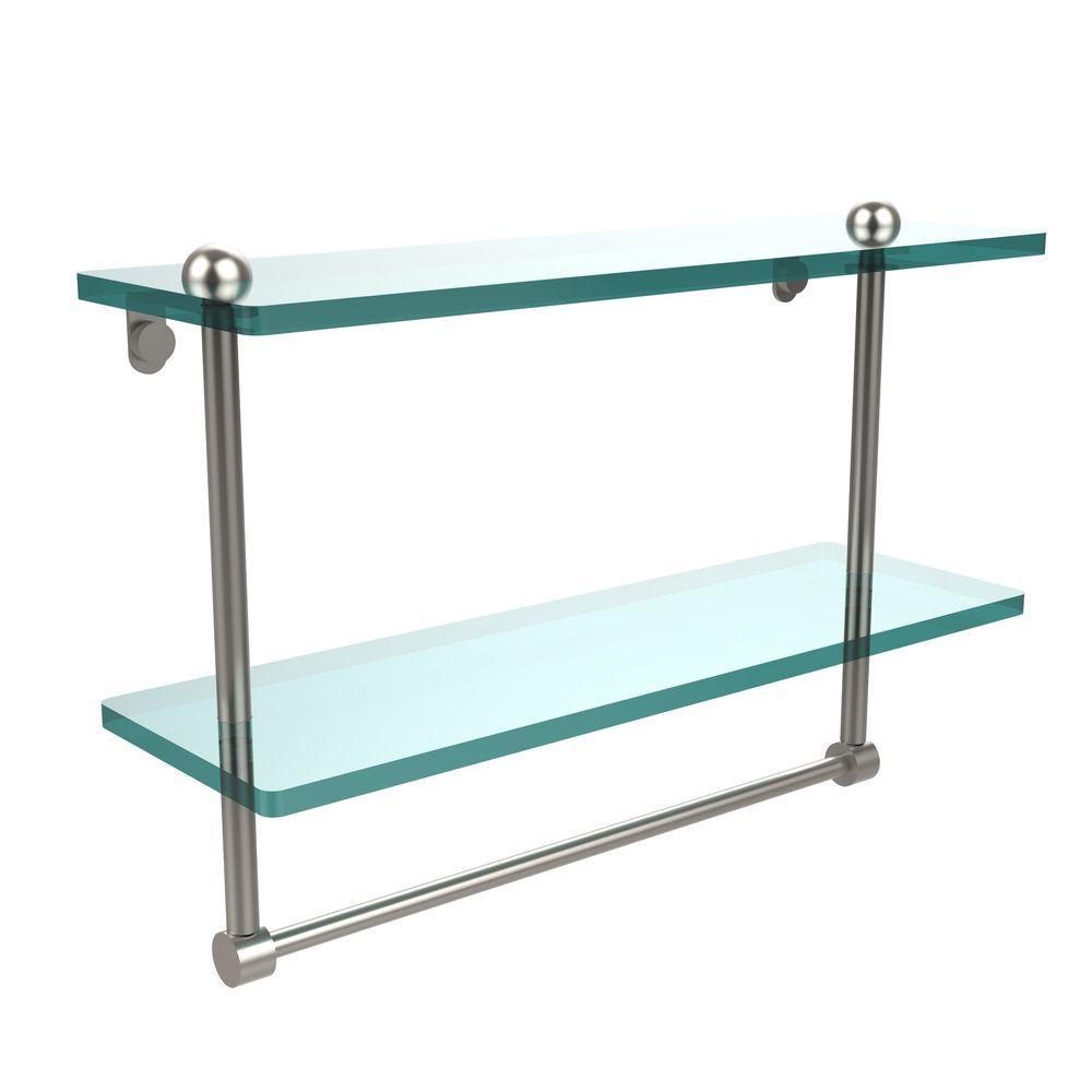 16 in. L  x 12 in. H  x 5 in. W 2-Tier Clear Glass Bathroom Shelf with Towel Bar in Satin Nickel