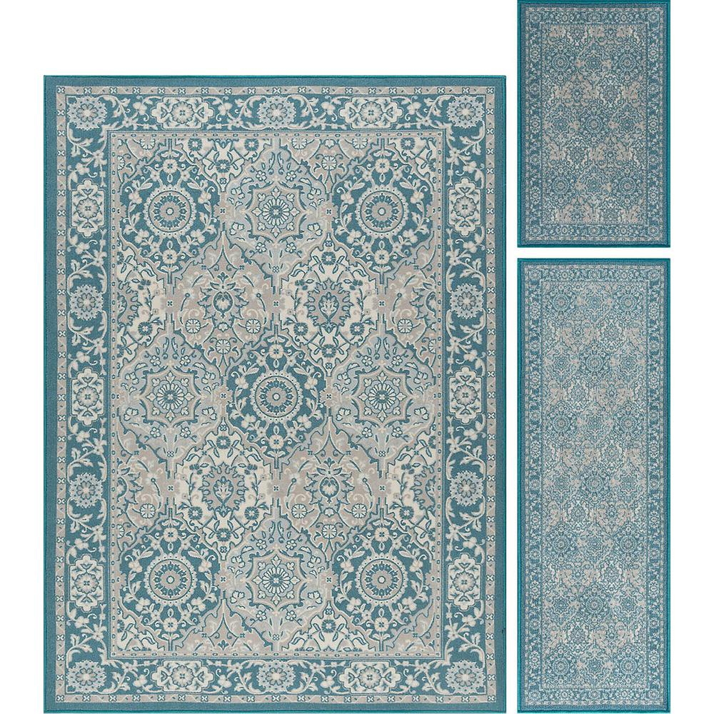 Tayse Rugs Majesty Teal 5 Ft. X 7 Ft. 3-Piece Rug Set