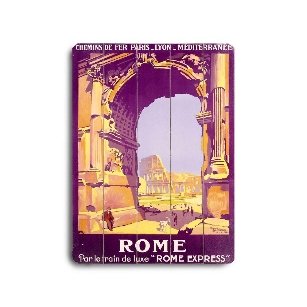 ArteHouse 14 in. x 20 in. Rome Express Vintage Wood Sign-DISCONTINUED