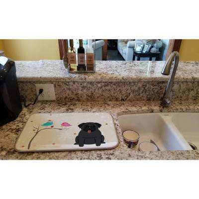 14 in. x 21 in. Multicolor Christmas Presents between Friends Pug Black Dish Drying Mat