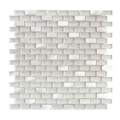 Crystal Ice 11.375 in. x 12 in. x 8 mm Interlocking Textured Glass Mosaic Tile