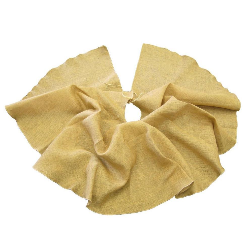 La Linen 40 In Burlap Christmas Tree Skirt Decor Petal Olive