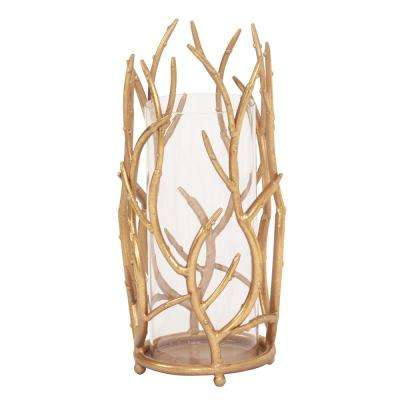 Gold Branches Hurricane Candle Holder Large