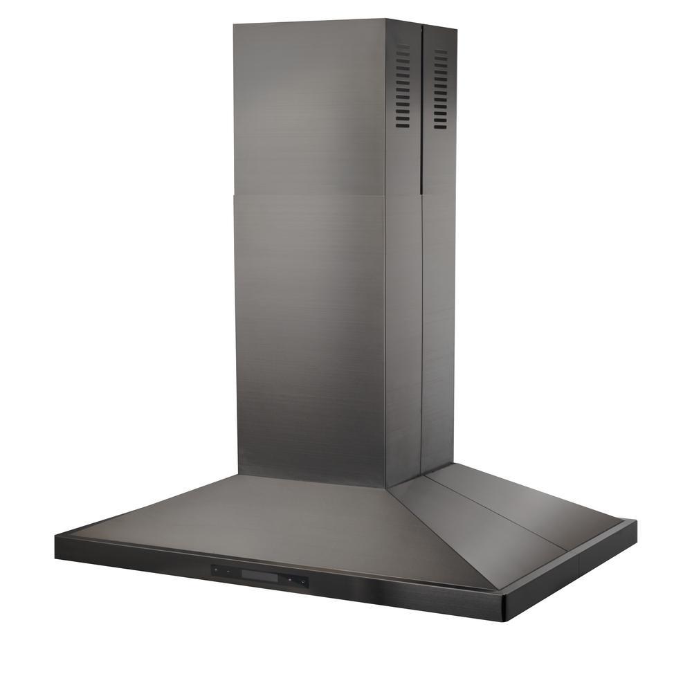 Zline Kitchen And Bath 30 In 760 Cfm Convertible Island Mount Range Hood Black Stainless Steel