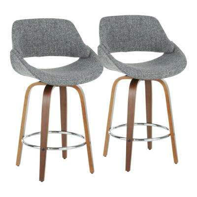Fabrico 26 in. Walnut and Grey Fabric Counter Stool with Chrome Footrest (Set of 2)