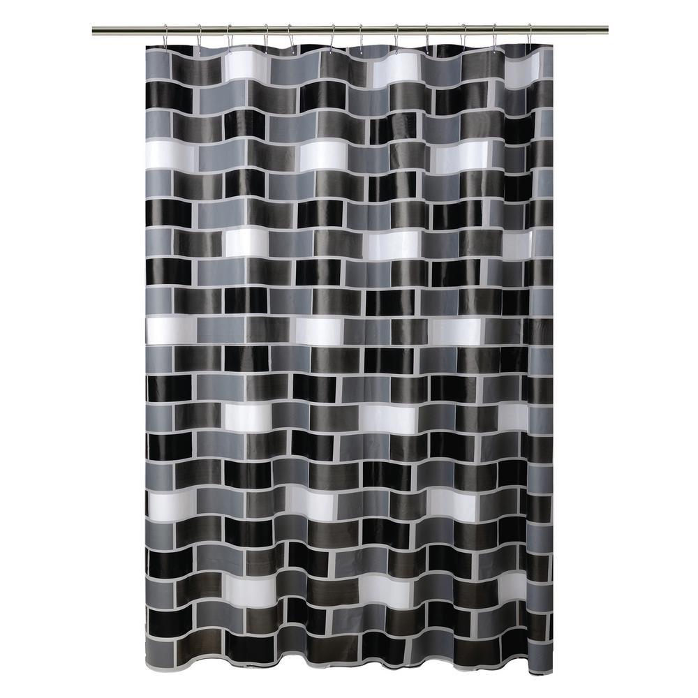 Black 13 Piece Shower Curtain Hook Set In