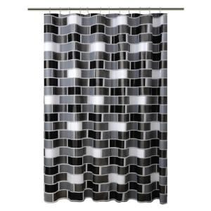 Bath Bliss Peva 72 inch Black 13-Piece Shower Curtain/Hook Set in Brick Design with... by Bath Bliss
