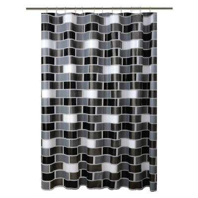 Peva 72 in. Black 13-Piece Shower Curtain/Hook Set in Brick Design with 12-Roller Hooks